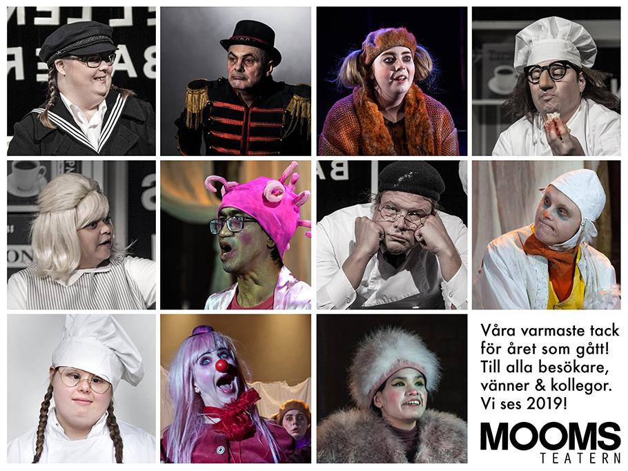 Bilder av hela Moomsteaterns ensemble från 2018 års föreställningar Tårtan och En Cirkusdröm